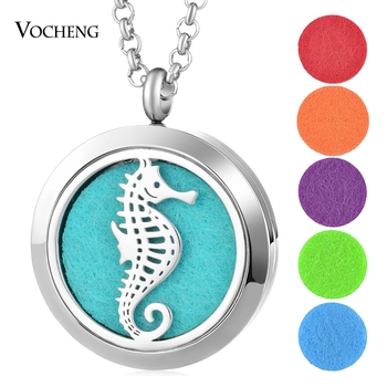 10pcs/lot Animal Aroma Perfume Diffuser Locket Necklace 316L Stainless Steel Pendant Magnetic 30mm without Felt Pad VA-815*10