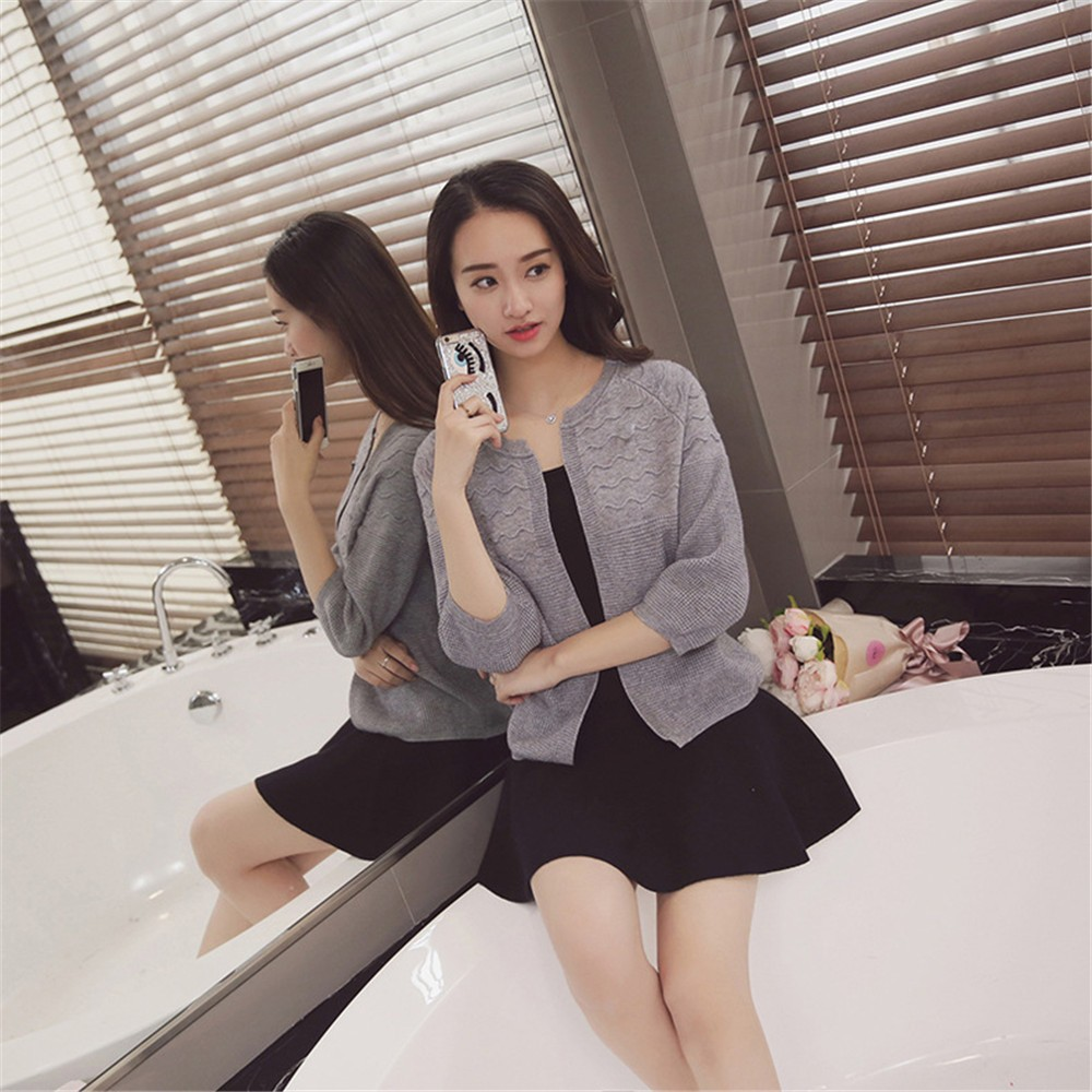 2016 Spring&Autumn Casual Sweater Women Cardigan Sweater Solid Color Open Stitch Women\'s Cotton Knitted Outerwear Sweater (2)