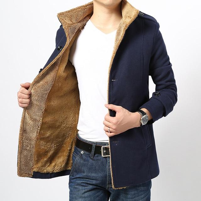 TIC-TEC Hombres Calientes del Invierno Suave Mezcla de Lana Pea Abrigos Slim Fit Lana Mezclas capa de la chaqueta P2663