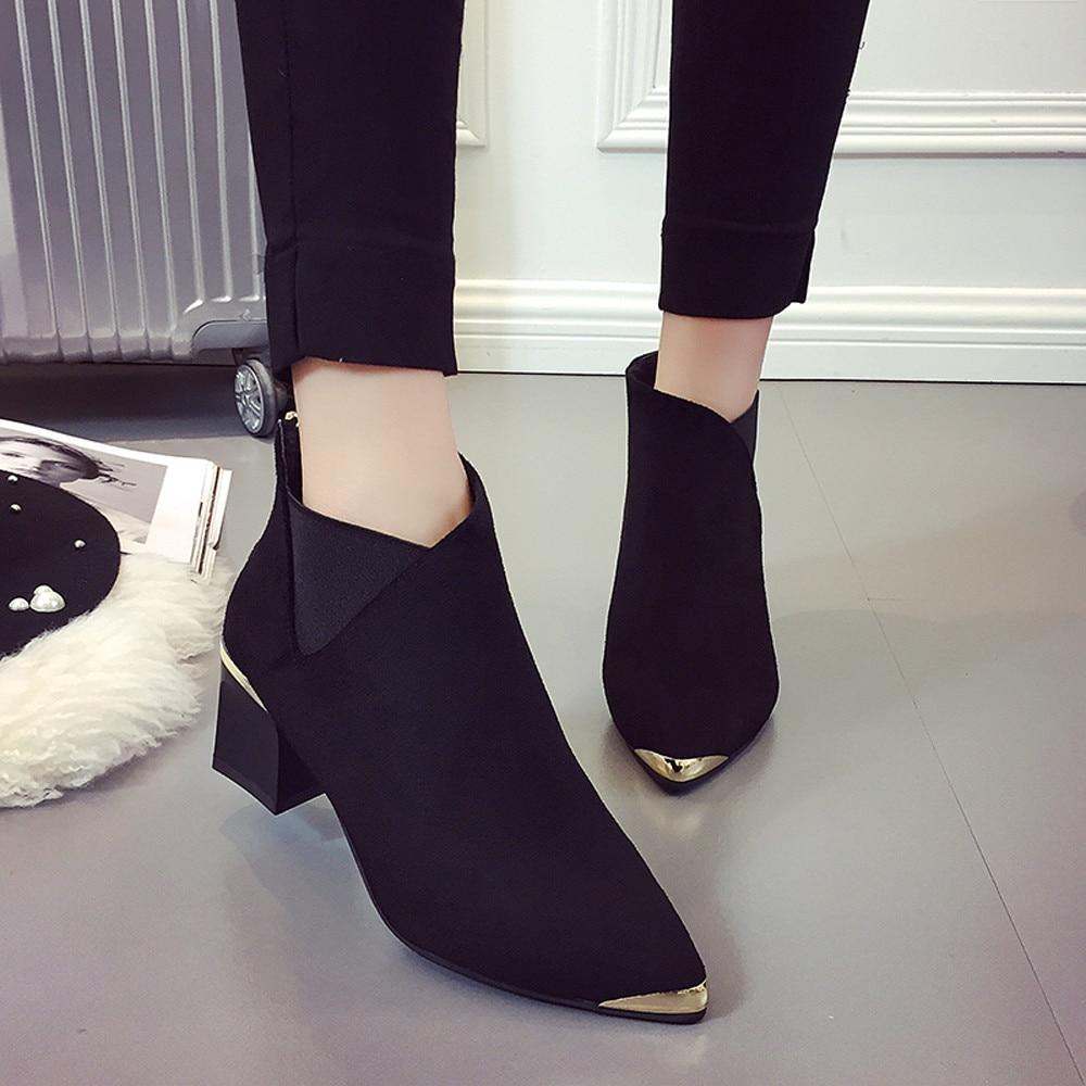Invierno Cortas Mujeres Dedo Casuales Del 2018 Tobillo Rebaño khaki De Corta Pie Las Black Tacón Puntiagudo Zapatos Botas I4AFq