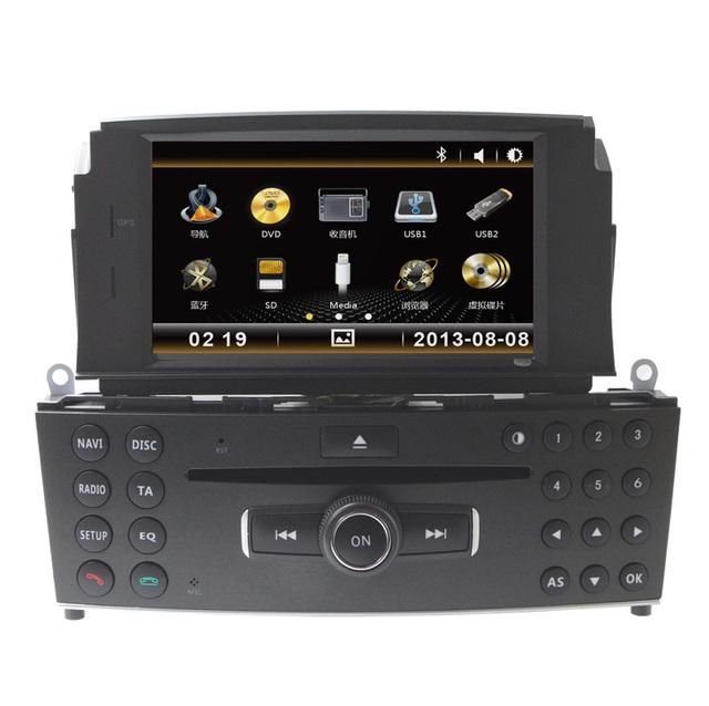 Dvd player do carro roda stering controle bluetooth can bus para mercedes C200 câmera reverising RDS FM AM rádio de navegação GPS vídeo