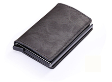 2019 Men Thin  Aluminium Wallet Mini Purse Metal Card Holder RFID Blocking Leather Business ID Credit Cardholder rfid blocking 100% genuine leather credit card holder men aluminum metal business id cardholder multifunction slim mini wallet