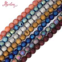 """Фотография Free Shipping 10mm Round Metallic Coated Druzy Agate Gem stone Beads Natural Stones For Jewelry Making Craft Strand 15"""" /Lot"""