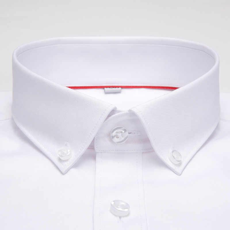 ハイトグレードボタンダウン襟長袖非鉄イージーケア正式な男性ドレスシャツフロントカバーなしポケット白男性トップス