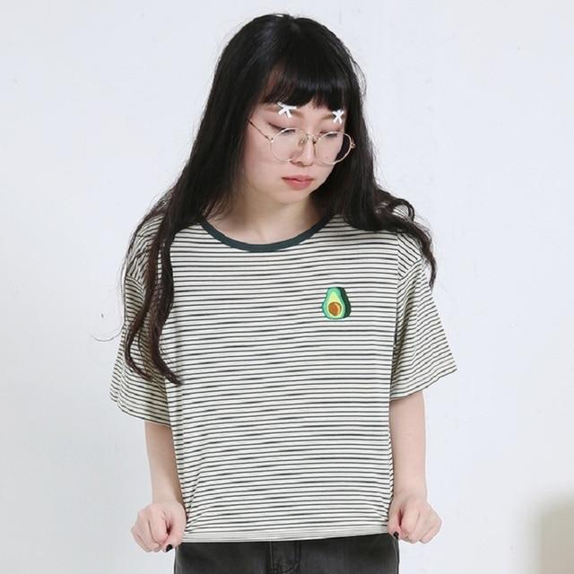 95909b04c61 2018 Women S Harajuku Summer Korean Original Avocado Embroidery Striped T-Shirt  Female Korean Kawaii Crop Tops And Tee For Women