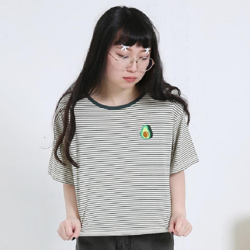 2018 mujeres Harajuku verano coreano Original aguacate bordado a rayas camiseta femenina coreana Kawaii Crop Tops y camiseta para mujer