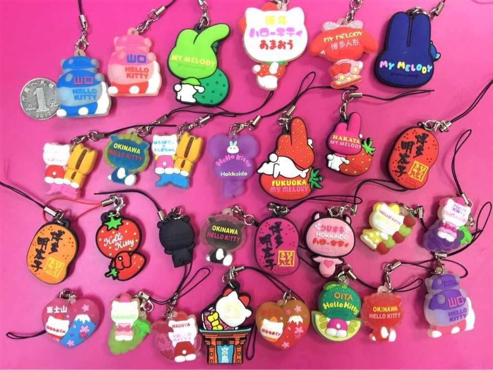13 pçs/lote Olá Kitty Melody Randon enviados anime Japonês figura de borracha cheiro doce encantos do telefone móvel cinta keychain G542