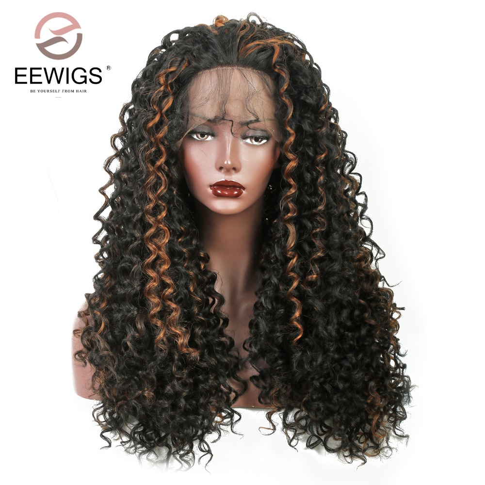 Long Kinky Curly Synthetic Lace Front Wig Black Brown Wig Heat Resistant Fiber For Women Daily 180% Heavy Density Blonde 26 Inch