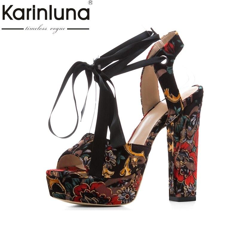 Karinluna 2018 Fashion Large Size 33-43 Square High Heels Peep Toe Platform Women Shoes Woman Wrapped Woman Pumps karinluna big size 34 43 demin upper peep toe platform rome style women shoes leisure square heels zip up woman sandals