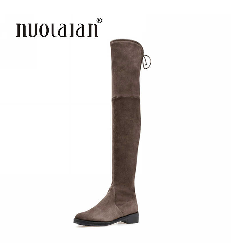 Kadın Diz Üzerinde Çizmeler Süet Uyluk Yüksek Çizmeler 2018 Sonbahar Kış Bayanlar Moda Kürk Sıcak Tıknaz Topuk Çizmeler kar ayakkabıları kadın