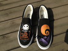 Wen Hand Painted Slip On Shoes Design Custom Nightmare Before Christmas Black Canvas Sneakers for Men Women's Christmas Gifts