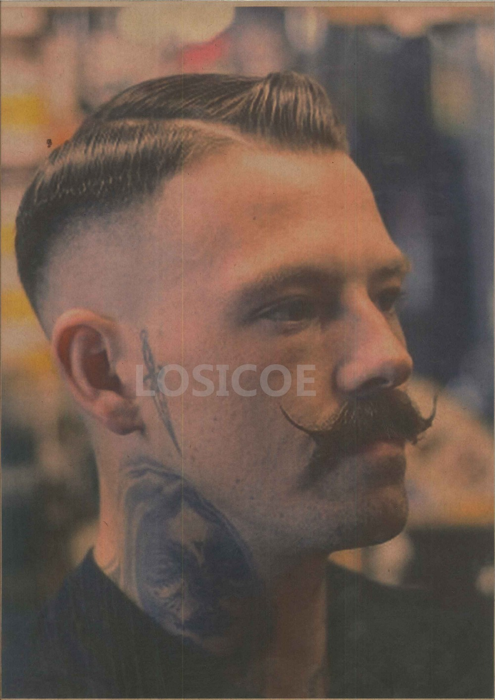 Exquisite Mens Hairstyle Tattoos Patterned Retro Kraft Paper