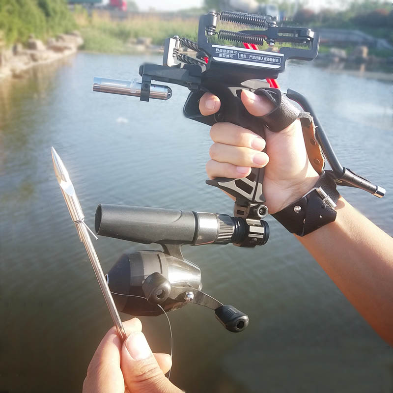 Laser Slingshot Black Hunting Bow Catapult Fishing Bow Outdoor Powerful Slingshot for Shooting Crossbow Bow For Catch Fish high quality portable black bow slingshot catapult hunting shooting fishing reel protective wristband metal buckle