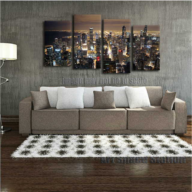 Chicago Skyline GIANT Wall Art Home Decor HD CANVAS PRINT,Chicago City  Night Panorama From
