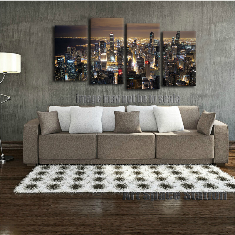 chicago skyline giant wall art home decor hd canvas printchicago city night panorama from
