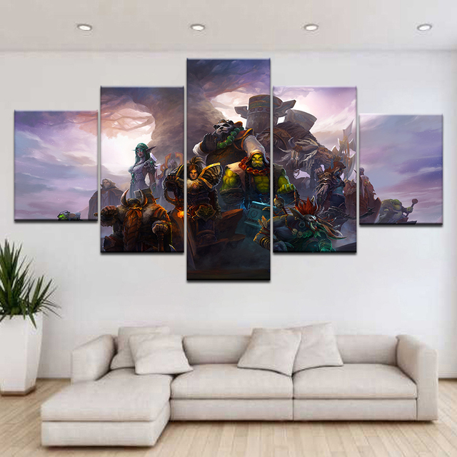 Canvas Oil Printed Painting 5 Panel Wall Art Picture DOTA 2 Vengeful Spirit Modular Artwork Framework For Living Room Bedroom 3