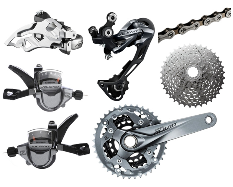 Shimano ALIVIO Bike Bicycle Derailleur Crankset +Front Derailleur + Rear Derailleur + Shifter+Flywheel + Chain Bicycle Groupset bicycle mtb 3x10 30 speed front rear shifter derailleur groupset for shimano m610 m670 m780 system