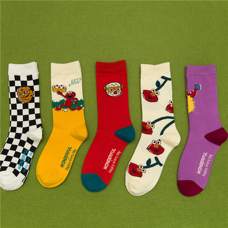 SP&CITY Harajuku Ins Style Cartoon Fruits Patterned Unisex Socks Cool Cotton Skateboard Socks Fashion Hipster Man Durable Socks