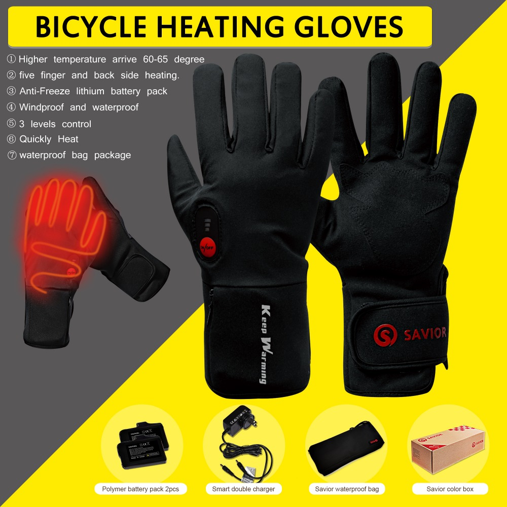 2200 mAh Rechargeable Battery Heated Motorcycle Electric Gloves Work Warm Winter