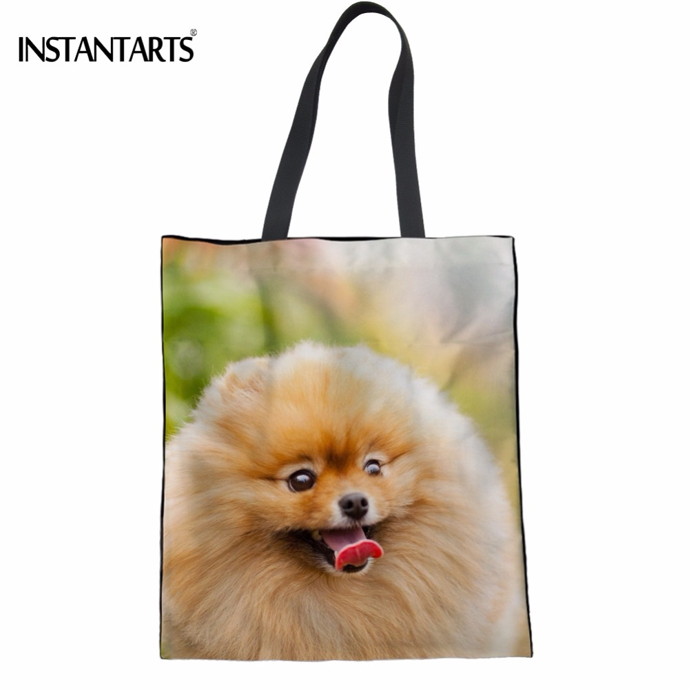 INSTANTARTS Kawaii Dog Pomeranian Printed Women Cotton Tote Bags Multifunction Friendly Eco Bags Casual Teenagers Girls Bookbags