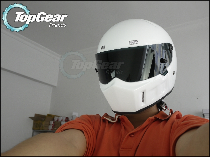 The Stig 1 Helmet Capacete Casco De 2002 2003 White Colour With Black Visor For 1 / 2 Season TopGear Kart / Car / Motorcycle women s casual solid sleeveless layered hem chiffon tank