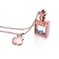 Hot Sale Italina Red Apple Brand Multi Colors Crystals Rectangle N 5 Perfume Bottle Pendant Necklace