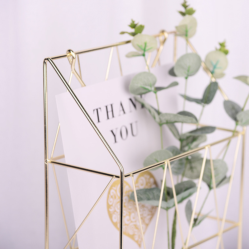Retro Iron Storage Shelf Wall Golden Storage Racks Hanging Decoration Bedroom Kitchen Organizer Decor Storage Basket with Handle in Storage Holders Racks from Home Garden
