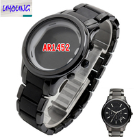 UYOGN Ceramic watch chain for AR1452 Black Case strap