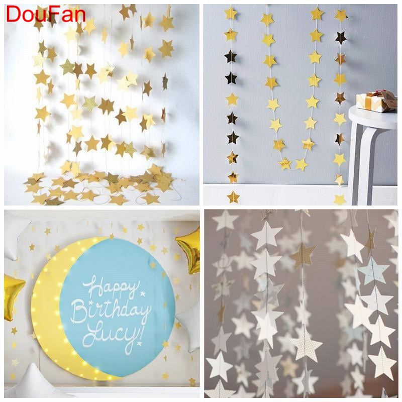 DouFan 1pc Twinkle Little Star Banner 4meter Shiny Gold Silver Blue Color Birthday Party Supplies Wedding Baby Shower Decoration