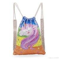 Custom Logo Bag Unicorn Sequin Backpack Drawstring Bag for Girl School Bag Kids Mermaid Horse Draw String Bags