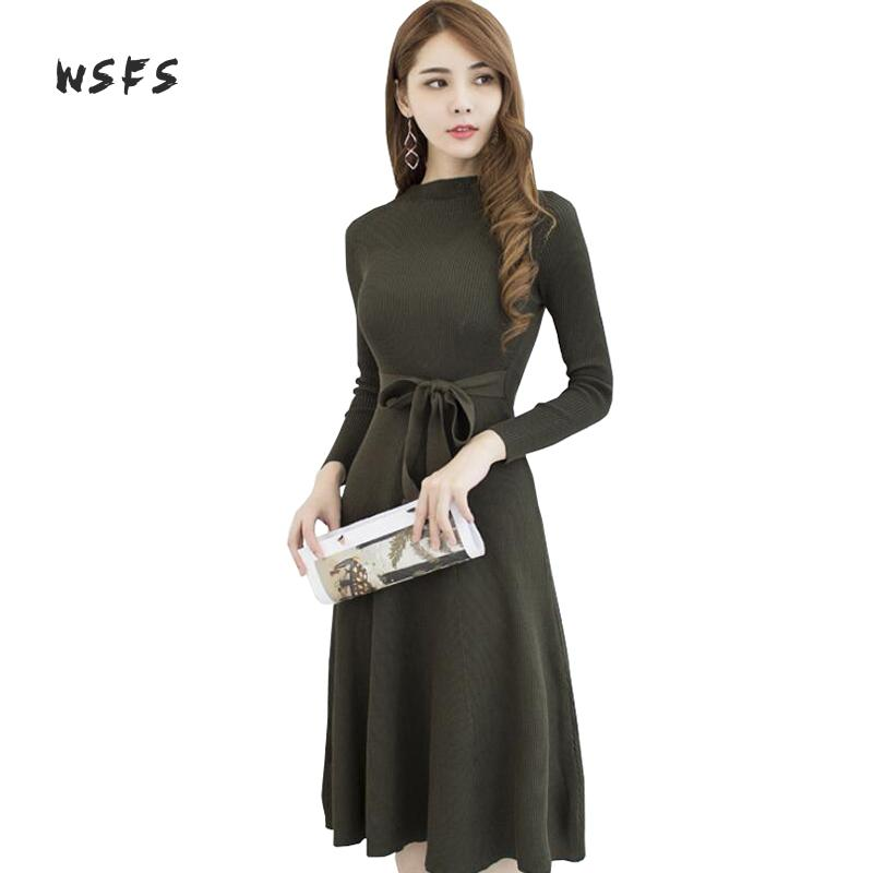 Wsfs Autumn Winter Black Army Green Knitted Dress Women Oneck Long Sleeve Party Vintage Bandage Dresses Vestidos De Festa Mujer army green vintage women