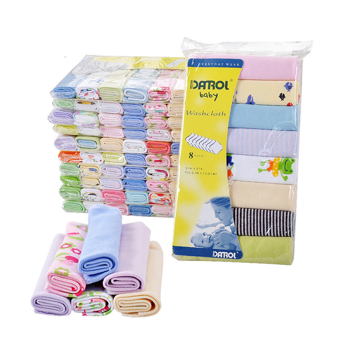 Pure Cotton Baby Towel,Soft Skin Feeling Baby Toallas,Baby Stuff Pack of 8PCS ...