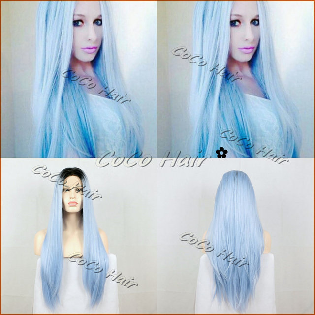Fashion Long Straight Half Hand Tied Synthetic Lace Front Wigs Pastel Blue Color Ombre Heat Resistant Women Wigs Free Shipping
