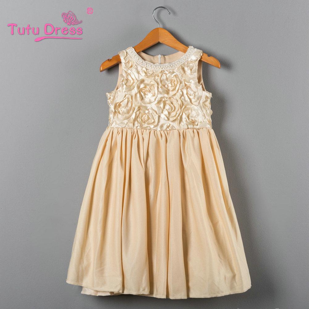 New Little Girl Baby Cream Color Summer Dress 2017