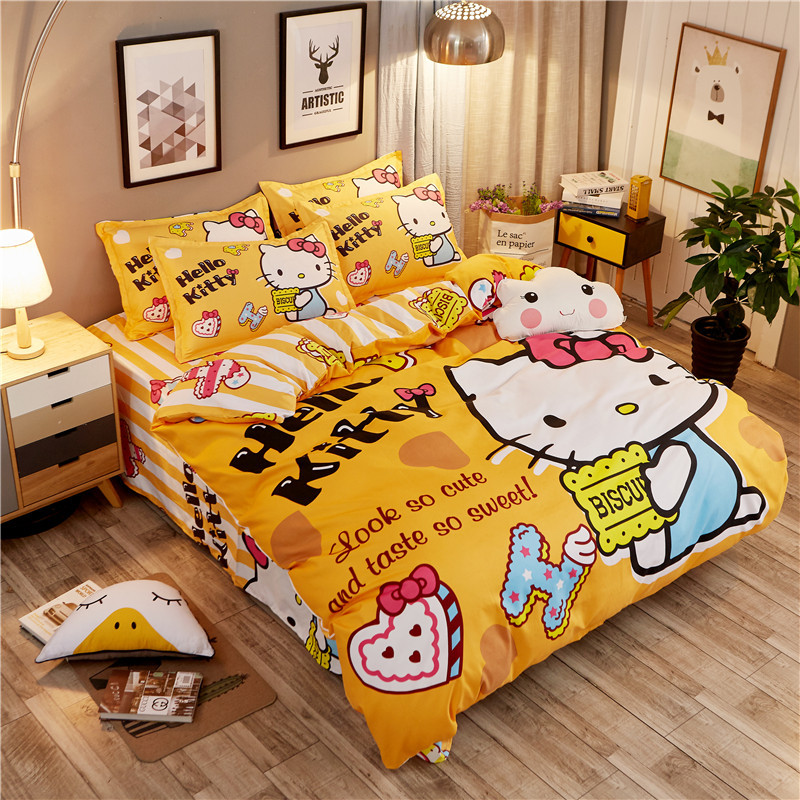 Bedding Set cotton Lovely cartoon English color sanding Hello Kitty 4pcs/3pcs Duvet Cover Sets Bed Sheet Set Pillowcase