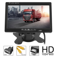 7 Inch 16:9 HD 1024*600 TFT LCD Color Car Rear View Monitor 2 Video Input DVD VCD Headrest Vehicle Support Audio