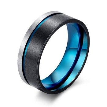 20d8d039e00c 2018 de moda anillo de acero de titanio para hombres azul negro mate hombre  regalo de la joyería para hombres cumpleaños 8mm