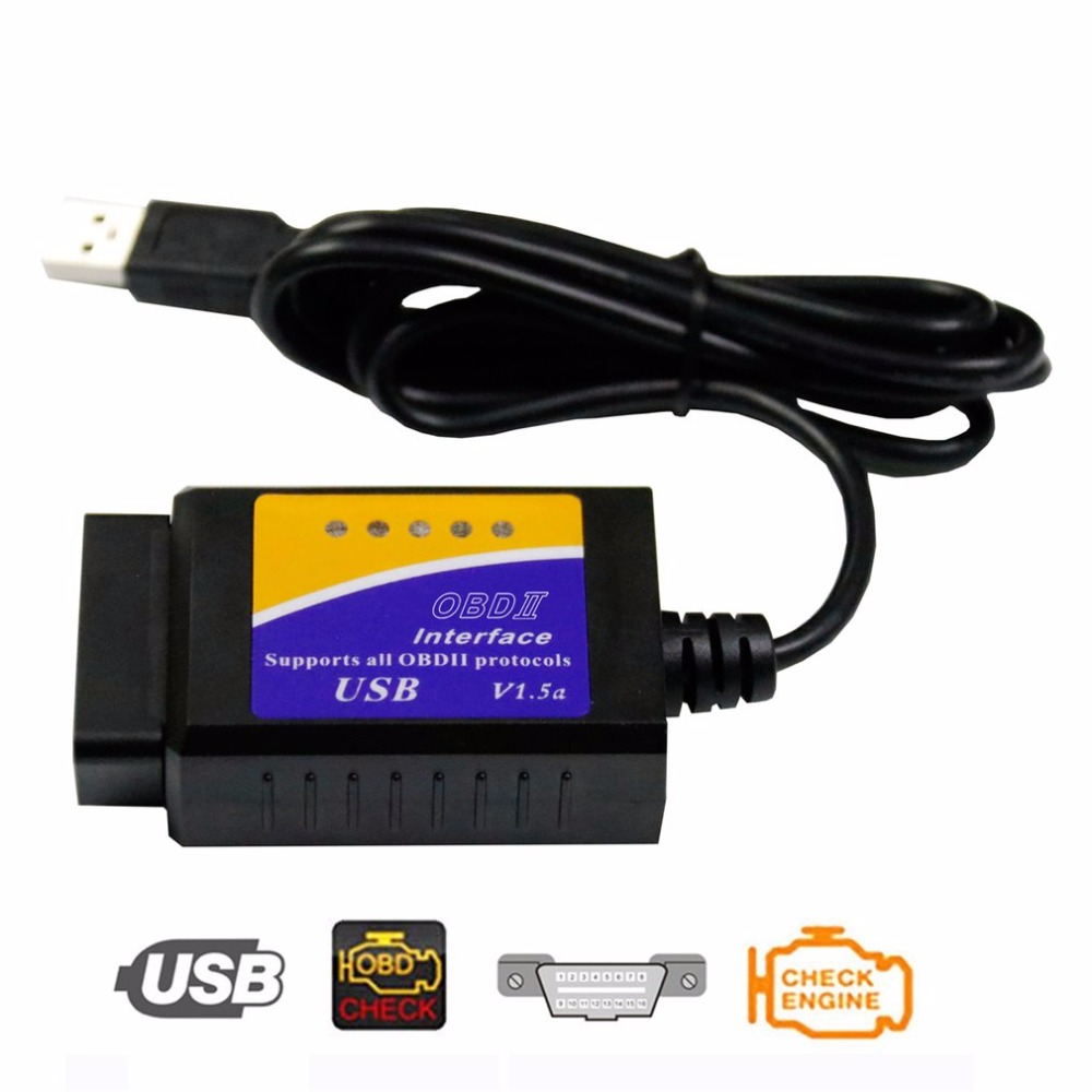 ELM327 USB OBD2 herramienta de diagnóstico de Auto coche ELM 327 V1.5 interfaz USB OBDII CAN-BUS escáner Venta caliente ~ Nuevo V1.5 Elm327 adaptador Bluetooth Obd2 Elm 327 V 1,5 escáner de diagnóstico automático para Android Elm-327 Obd 2 ii herramienta de diagnóstico de coche