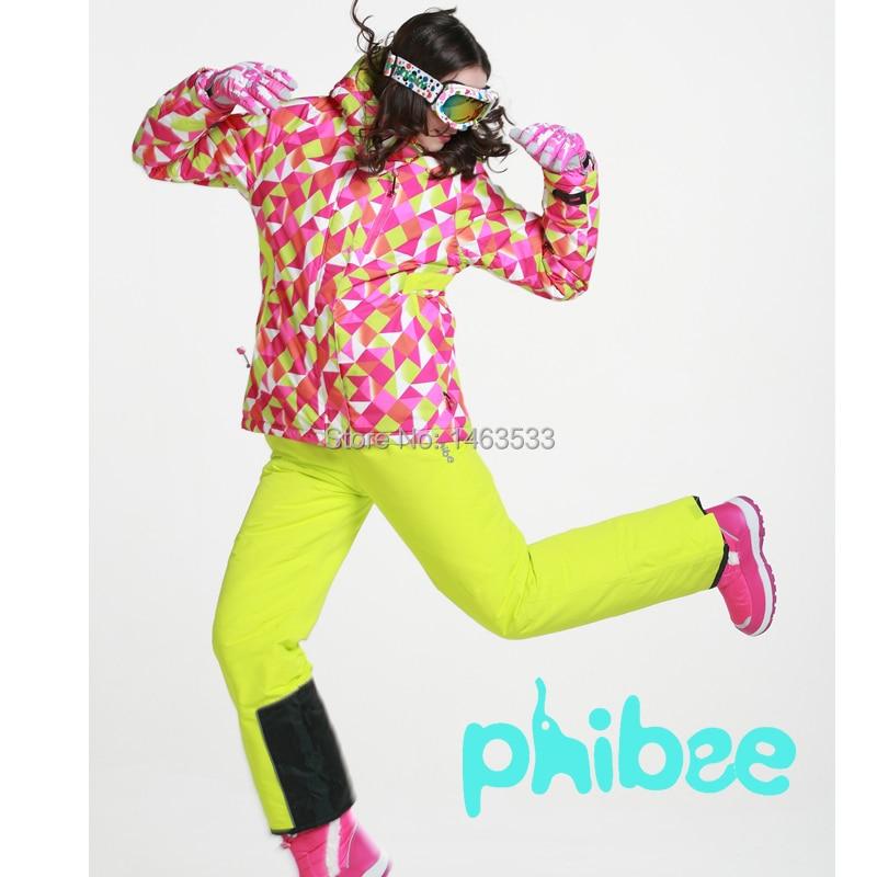 Prix pour Phibee Femmes Combinaison De Ski Féminin Très Épais Ski Veste Ski Pantalon Monoboard Vêtements De Ski Imperméable À L'eau Thermique Snowboard Veste-30 degré