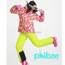 Phibee Women Ski Suit Female Very Thick Ski Jacket Ski Pants Monoboard Ski Wear Waterproof Thermal Snowboard Jacket -30degree