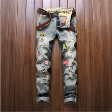 2016 Mens Ripped Jeans Distressed Hole Patchwork Slim fit Jeans Washed Straight Denim Pants P3092