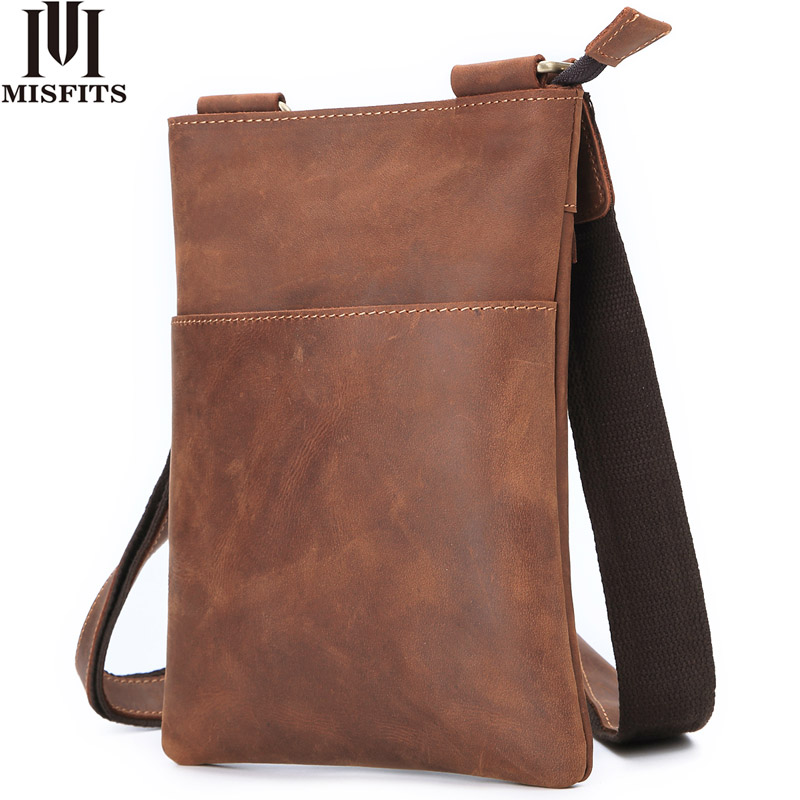 MISFITS 2019 crazy horse leather men s crossbody bag vintage cowhide thin messenger bag luxury brand