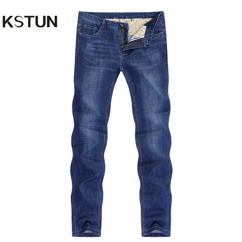 KSTUN Jeans for Men Summer Ultrathin Business Casual Straight Dark Blue Regular Fit Soft Men's Clothes Businessman Denim Pants