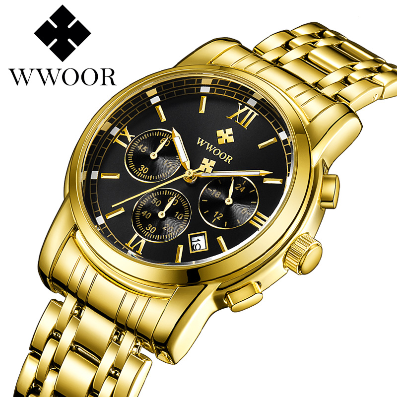 WWOOR 2018 Gold Watch Men Waterproof Business Quartz Clock Mens Watches Top Brand Luxury All Steel Male Sport Wrist Watch wwoor men watches waterproof ultra thin quartz clock male gold mesh stainless steel watch men top brand luxury sport wrist watch
