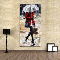 100% Handpainted beautiful lady Oil Paintings sexy girl Walk In The Rain Oil Paintings Wall Art on Canvas for Home Decoration