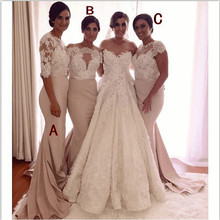 Champagne 2017 Mermaid Cap Sleeves See Through Appliques Lace Long Bridesmaid Dresses Cheap Under 50 Wedding Party Dresses