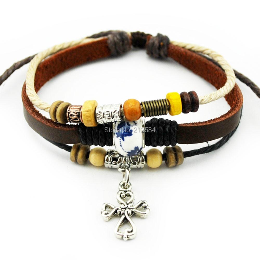 A520 Cross Charm Fashion Handmade Hemp Leather Bracelet Wristband Womens  Man's Adjustable Wrap Bracelet Wholesale Free
