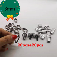 20pcs Diameter 3mm Sleeves Aluminium Oval Double Hole and thimble rope for Crimping Wire Rope