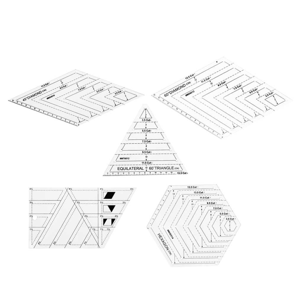 54pcs//set Assorted Clear Quilting Template Patchwork Sewing Ruler Tools