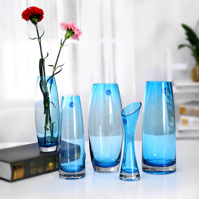 Transparent Pure Blue Glass Vase For Fashion Home Wedding Gift